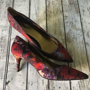 Nine West Autumn Textured Floral Heels Size 10
